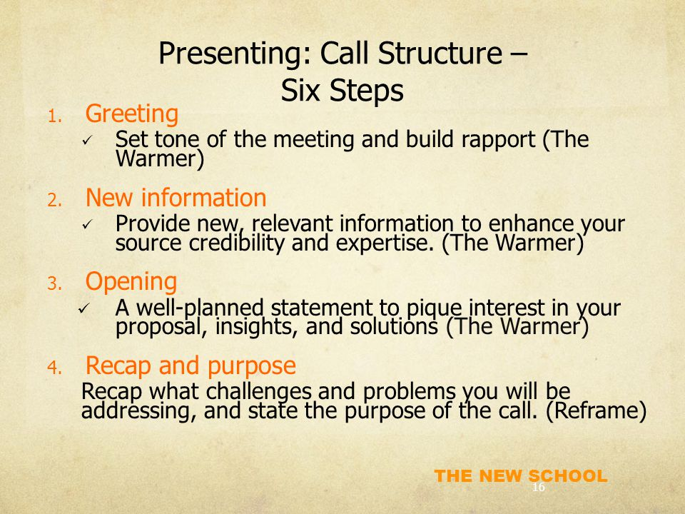 Presenting: Call Structure – Six Steps