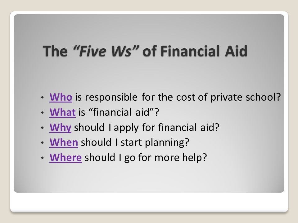 The Five Ws of Financial Aid