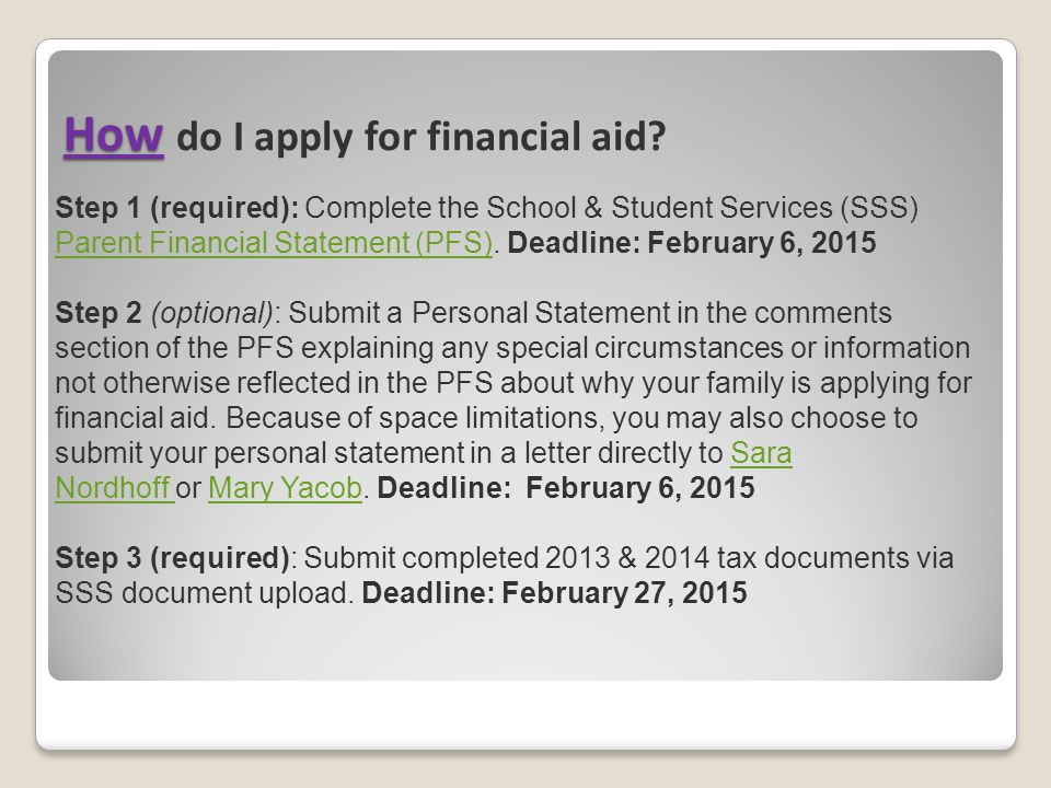 How do I apply for financial aid