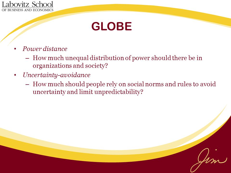 GLOBE Power distance. How much unequal distribution of power should there be in organizations and society