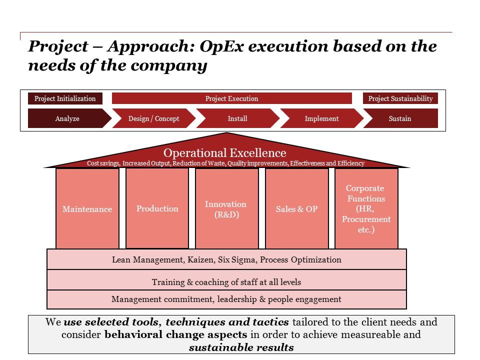 Project – Approach: OpEx execution based on the needs of the company
