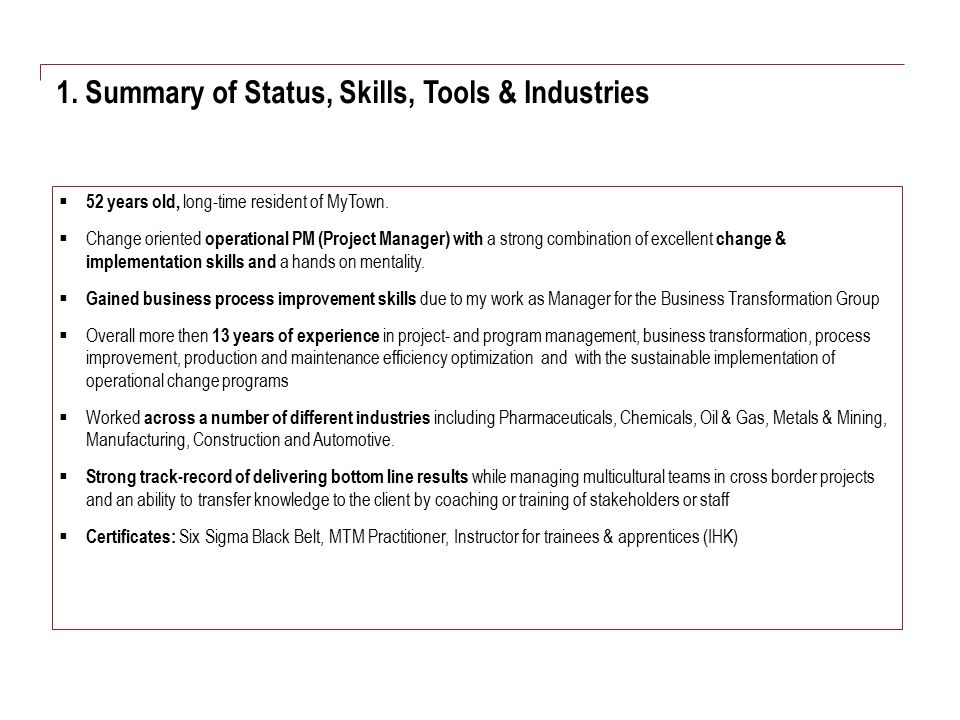 1. Summary of Status, Skills, Tools & Industries