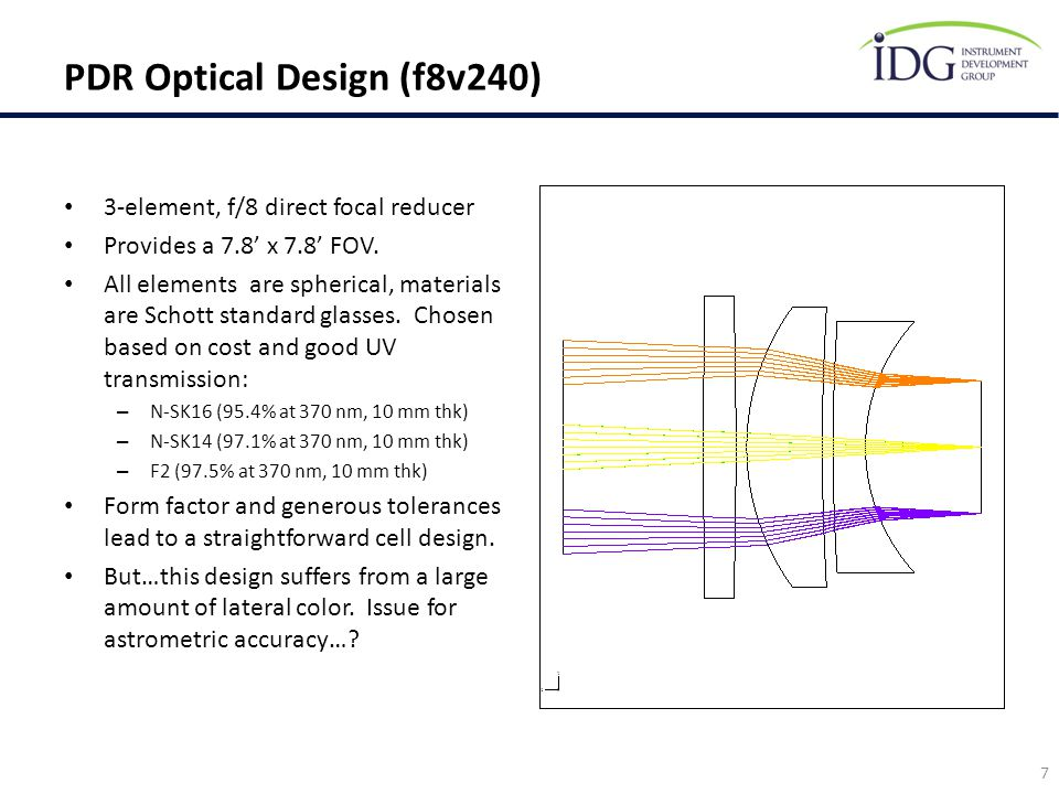 PDR Optical Design (f8v240)