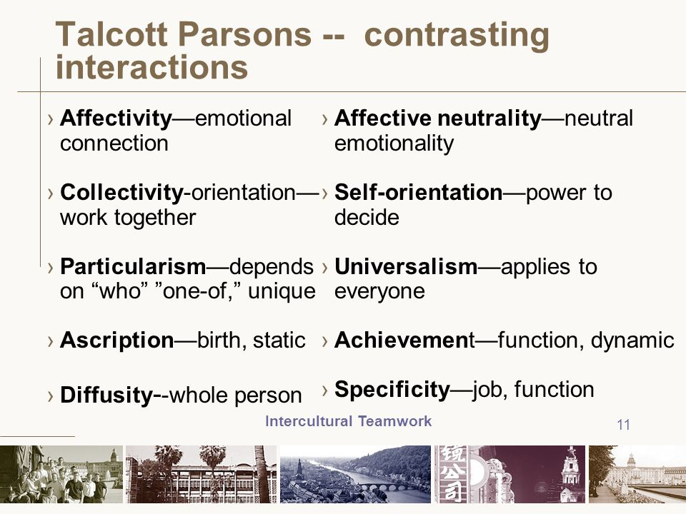 Talcott Parsons -- contrasting interactions