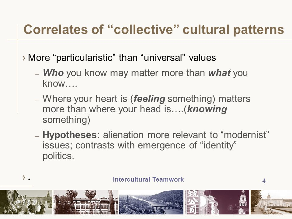 Correlates of collective cultural patterns