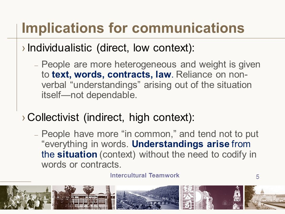 Implications for communications