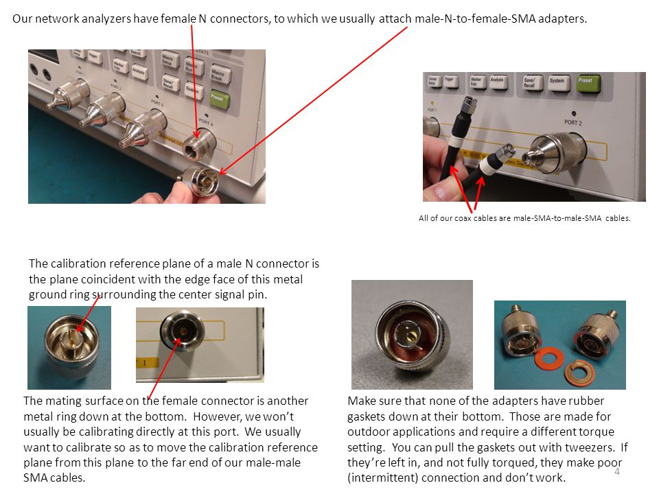 Our network analyzers have female N connectors, to which we usually attach male-N-to-female-SMA adapters.