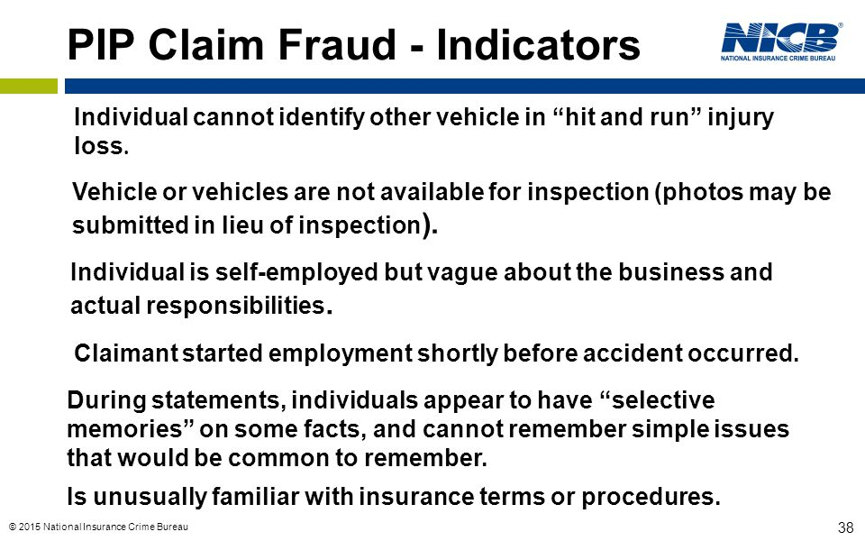 PIP Claim Fraud - Indicators