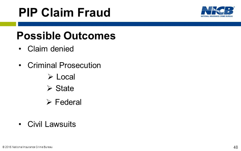 PIP Claim Fraud Possible Outcomes Claim denied Criminal Prosecution