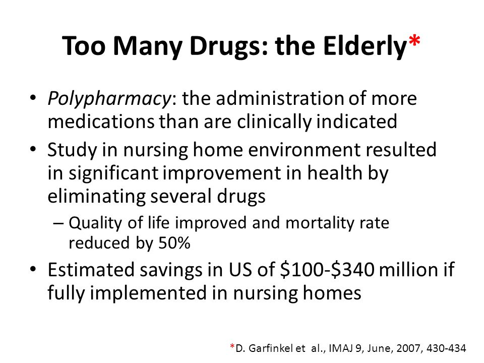 Too Many Drugs: the Elderly*
