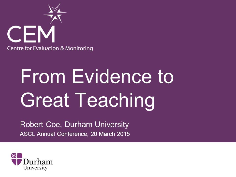 From Evidence to Great Teaching