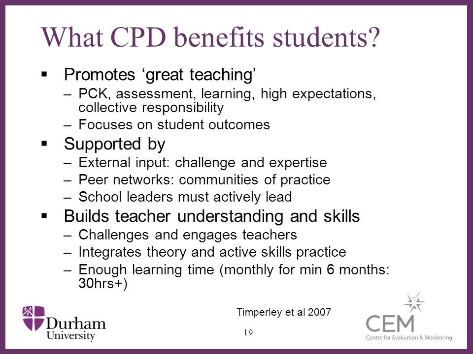 What CPD benefits students