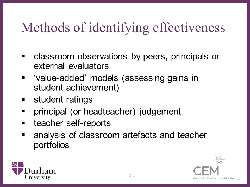 Methods of identifying effectiveness