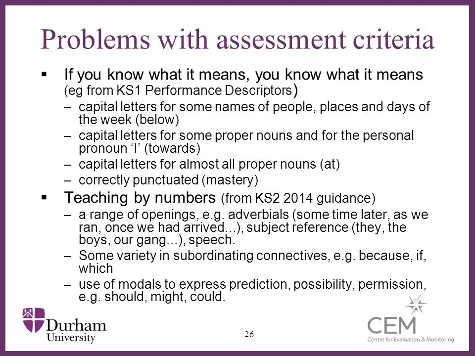 Problems with assessment criteria