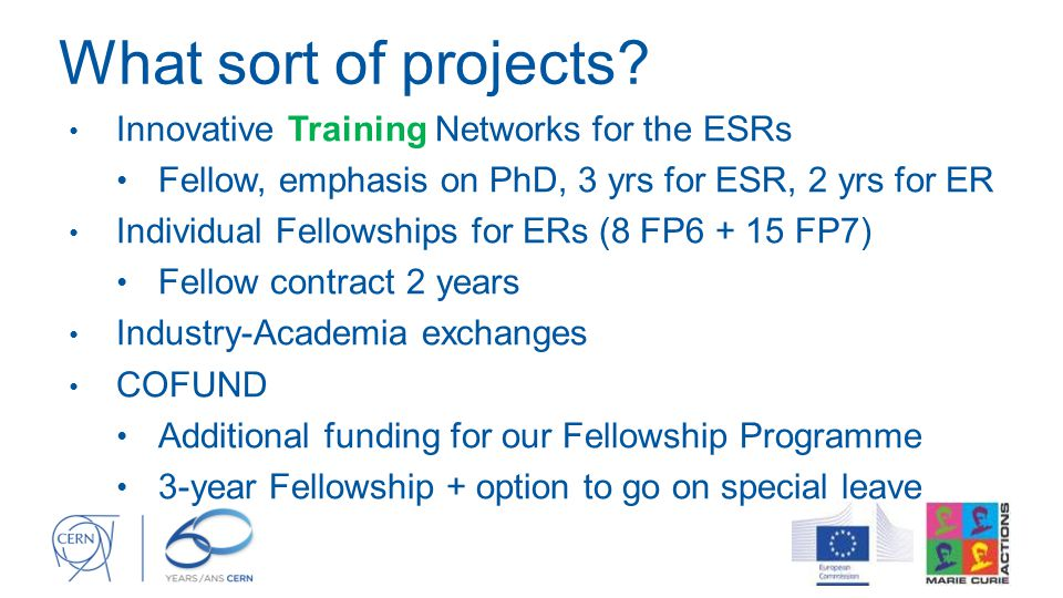 What sort of projects Innovative Training Networks for the ESRs