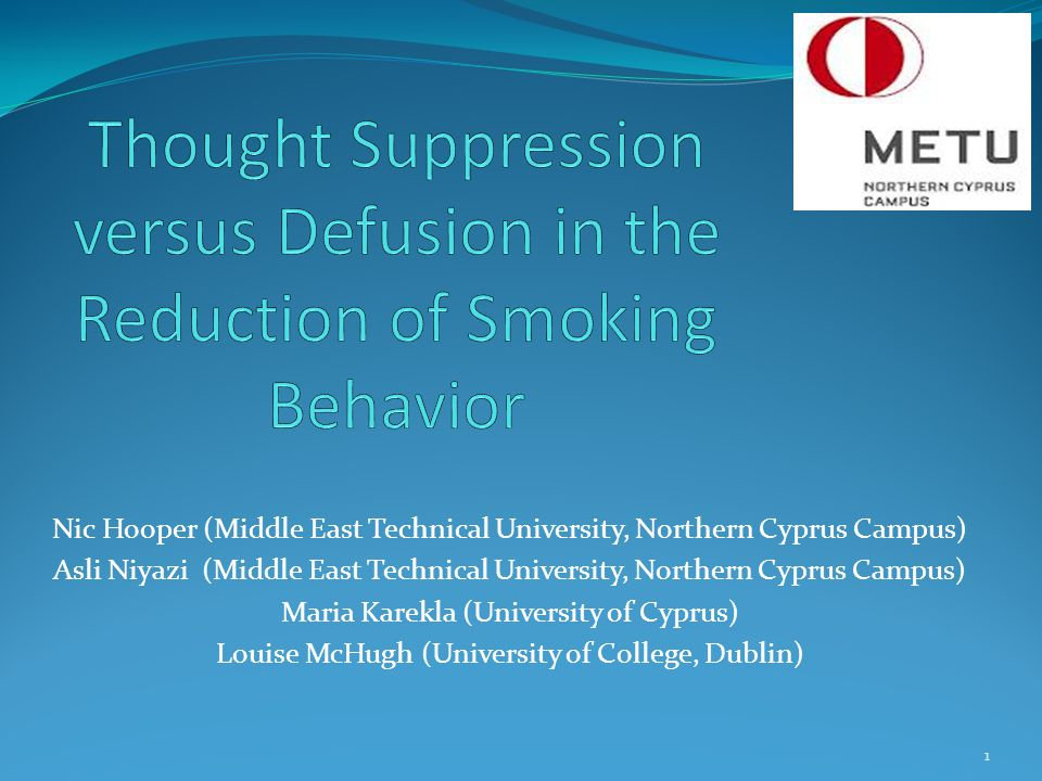 Thought Suppression versus Defusion in the Reduction of Smoking Behavior