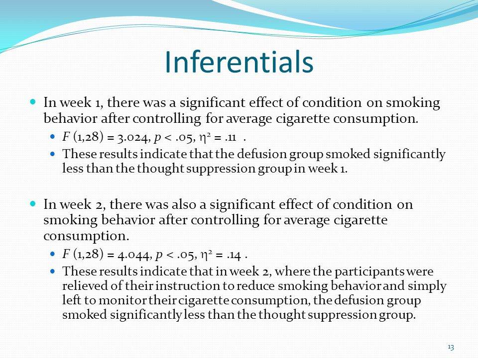 Inferentials In week 1, there was a significant effect of condition on smoking behavior after controlling for average cigarette consumption.