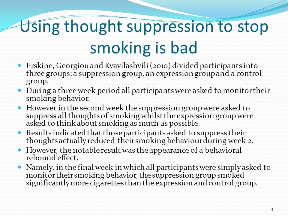 Using thought suppression to stop smoking is bad