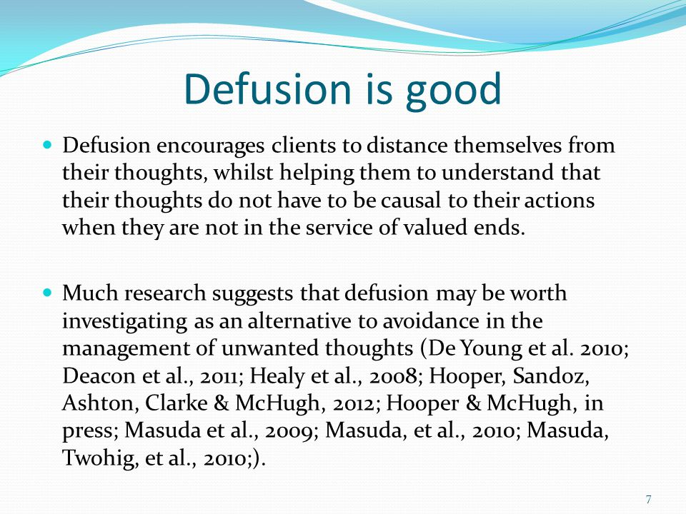 Defusion is good