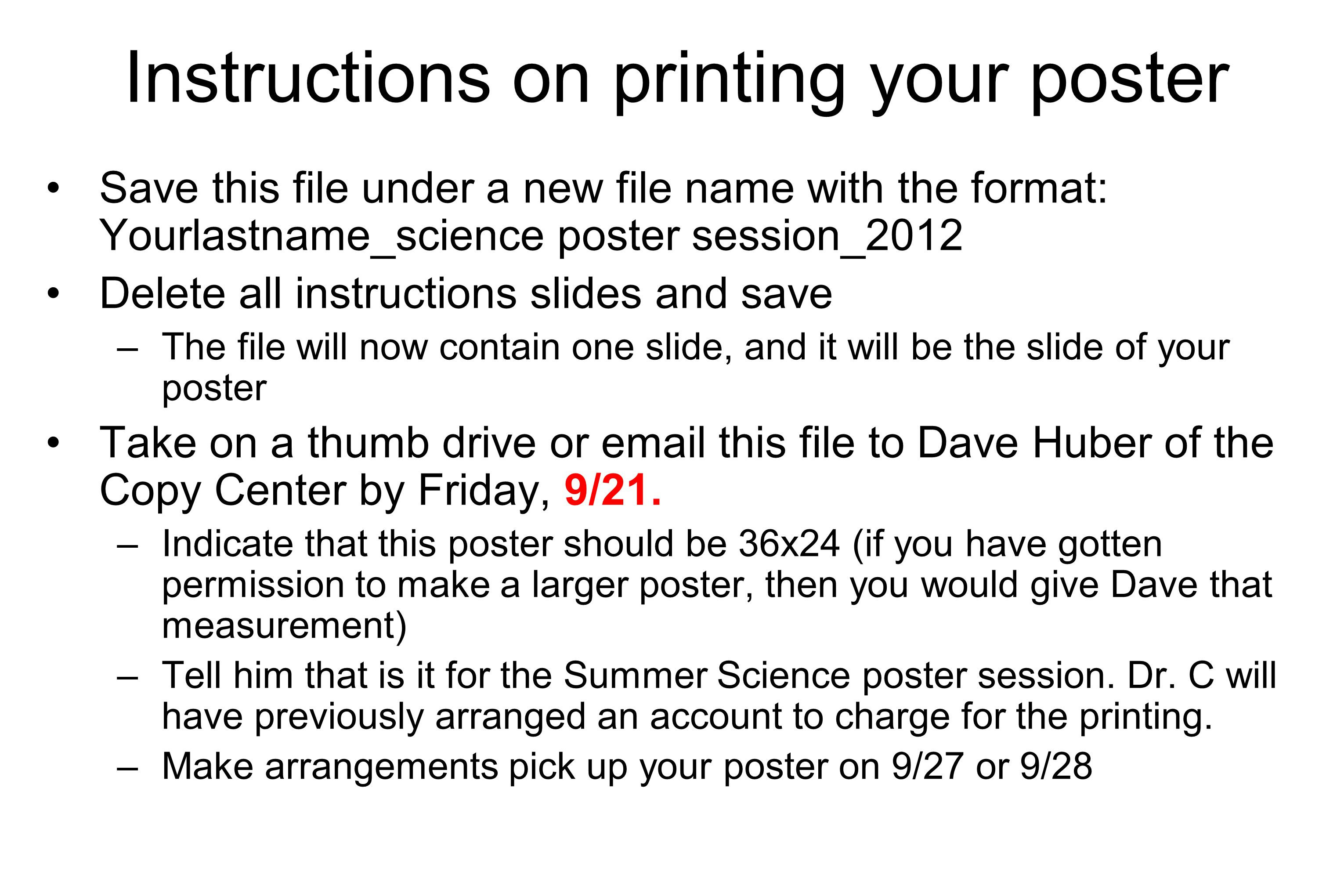 Instructions on printing your poster