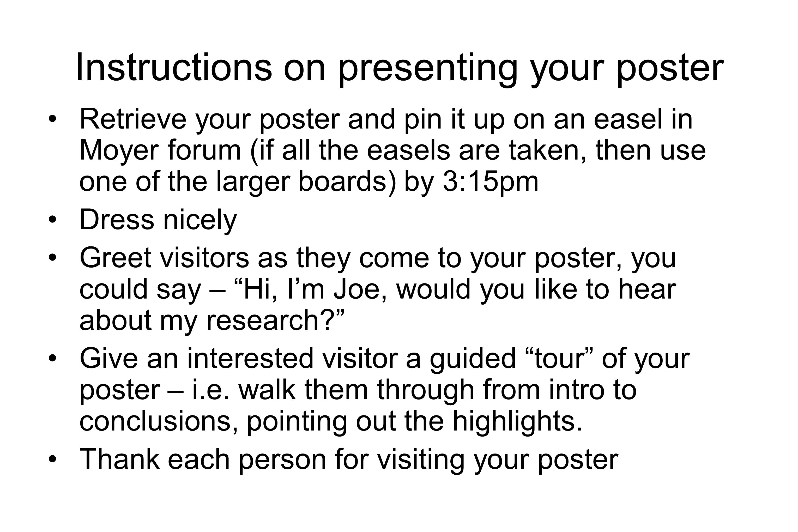 Instructions on presenting your poster
