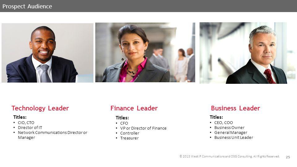 PROSPECT AUDIENCES Prospect Audience Technology Leader Finance Leader