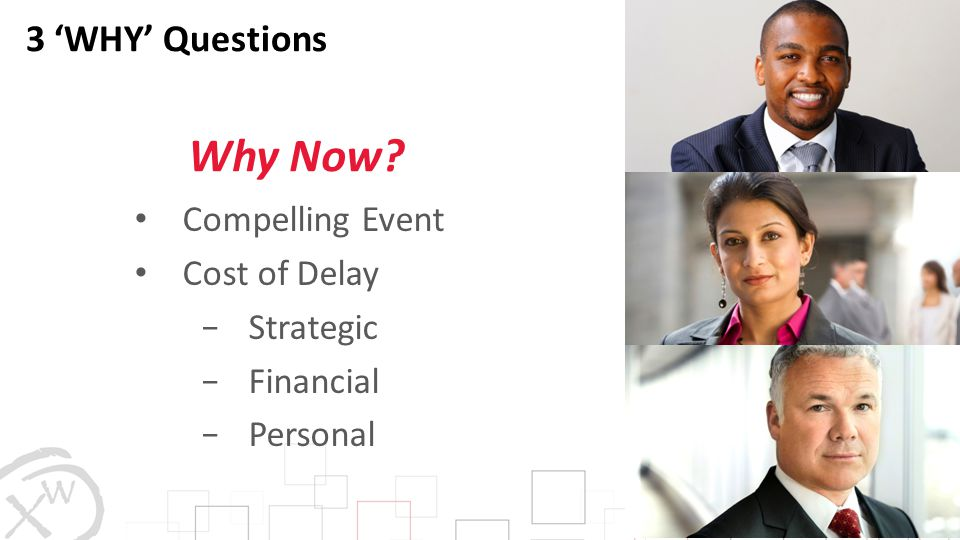 Why Now 3 'WHY' Questions Compelling Event Cost of Delay Strategic