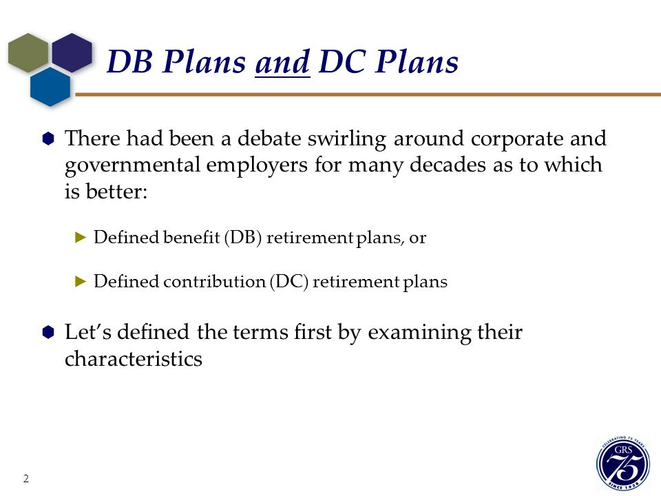 DB Plans and DC Plans There had been a debate swirling around corporate and governmental employers for many decades as to which is better: