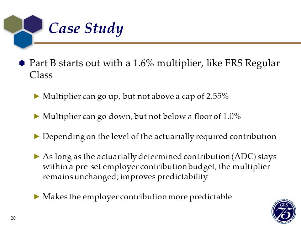 Case Study Part B starts out with a 1.6% multiplier, like FRS Regular Class. Multiplier can go up, but not above a cap of 2.55%