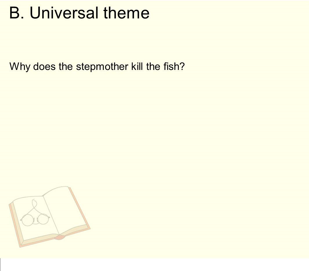 B. Universal theme Why does the stepmother kill the fish
