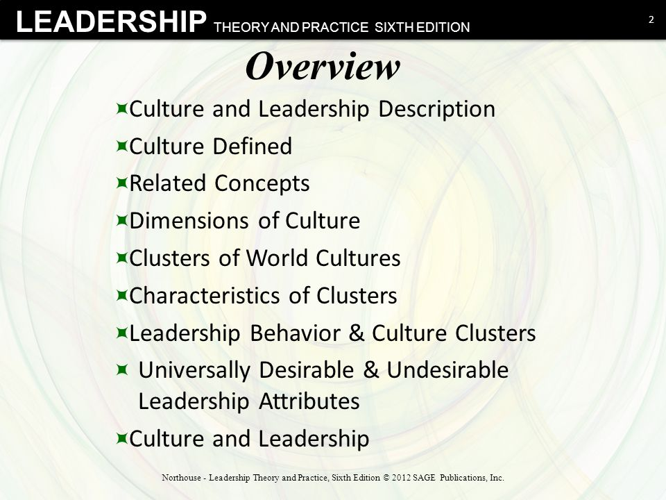 Overview Culture and Leadership Description Culture Defined