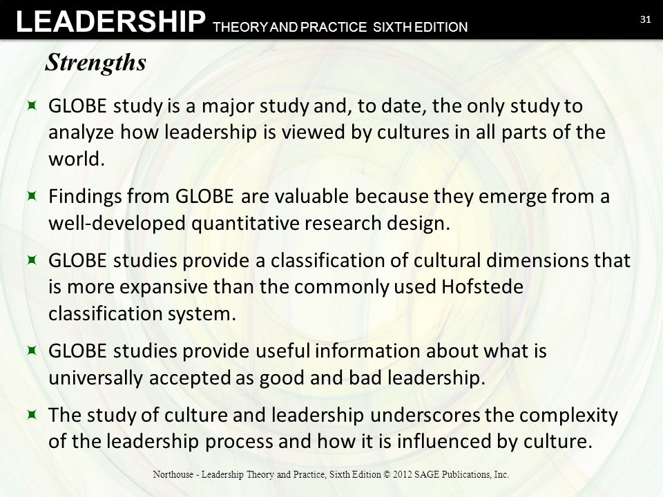 Strengths GLOBE study is a major study and, to date, the only study to analyze how leadership is viewed by cultures in all parts of the world.