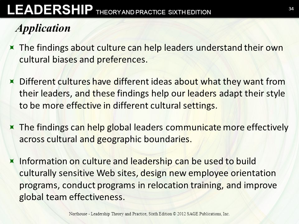 Application The findings about culture can help leaders understand their own cultural biases and preferences.
