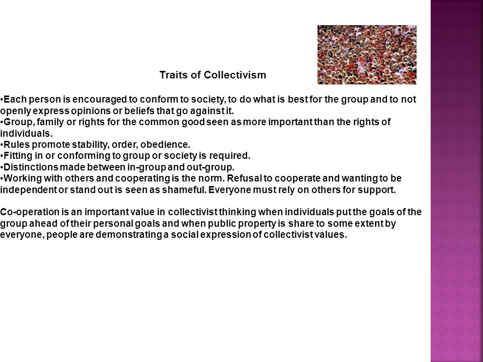 Traits of Collectivism