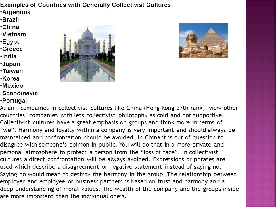 Examples of Countries with Generally Collectivist Cultures