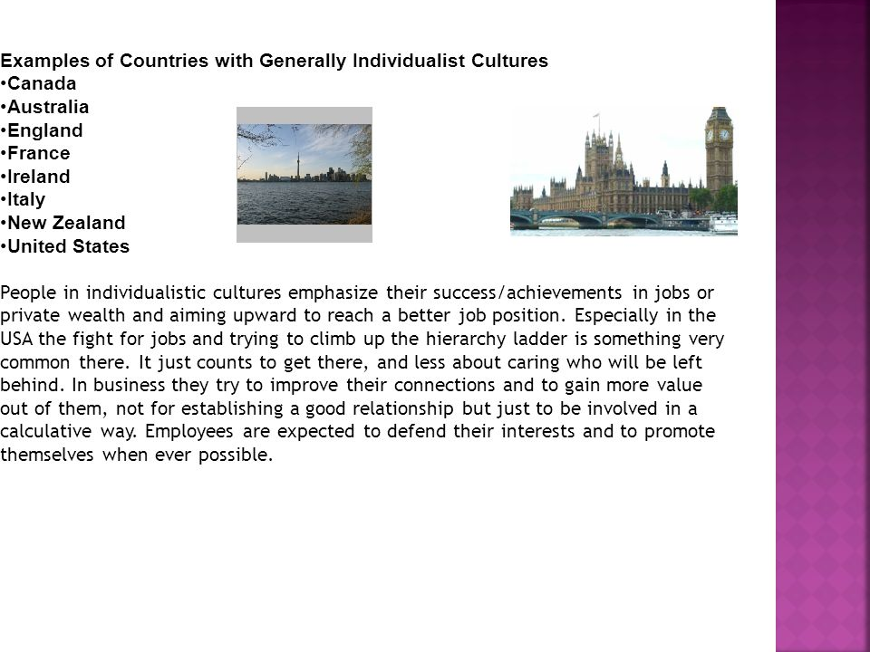 Examples of Countries with Generally Individualist Cultures