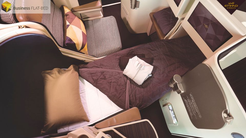 Etihad is the only global airline that guarantees a fully-flat bed with direct aisle access on every long-haul flight. Rest assured with the opportunity to sleep undisturbed in one of the most spacious cabins in the air.
