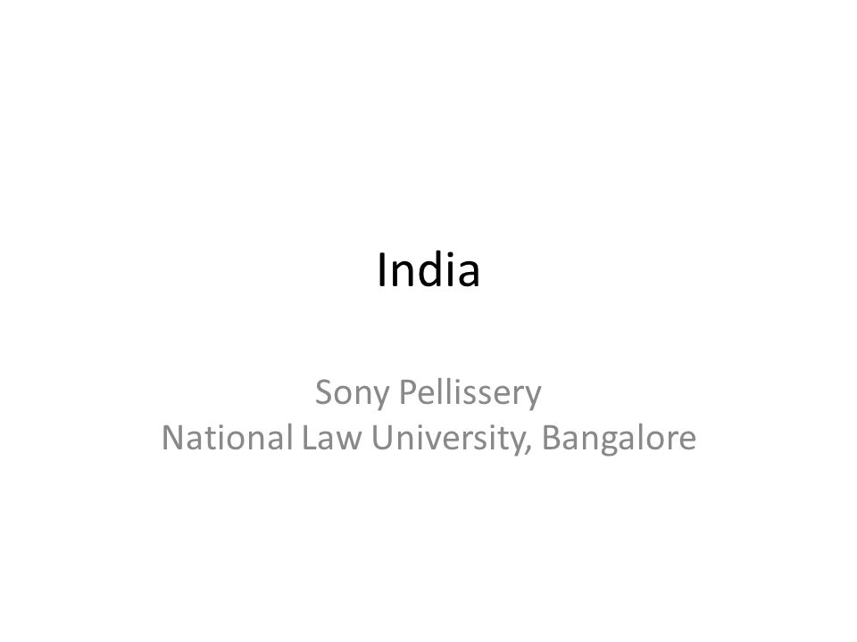 Sony Pellissery National Law University, Bangalore