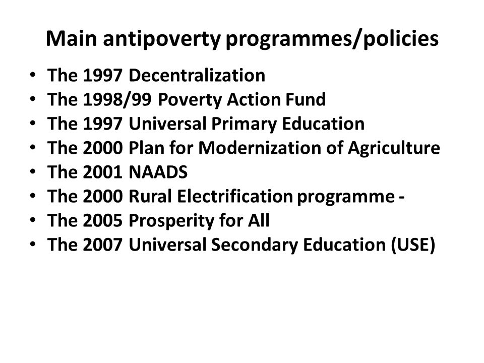 Main antipoverty programmes/policies