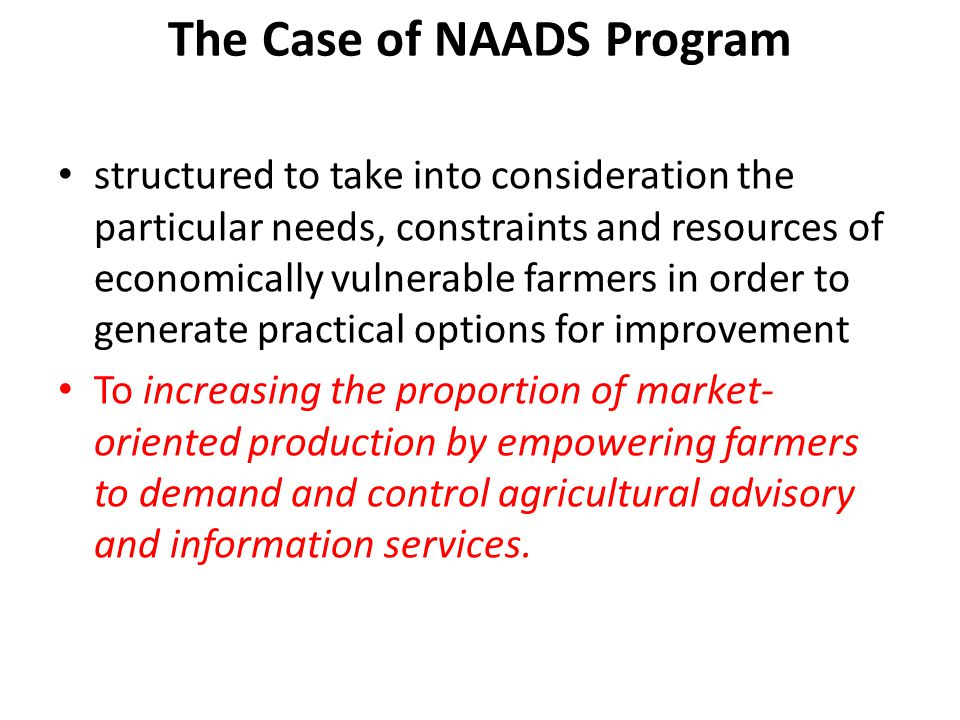 The Case of NAADS Program