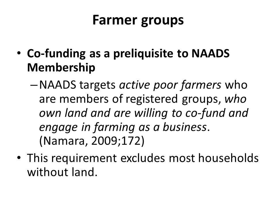 Farmer groups Co-funding as a preliquisite to NAADS Membership