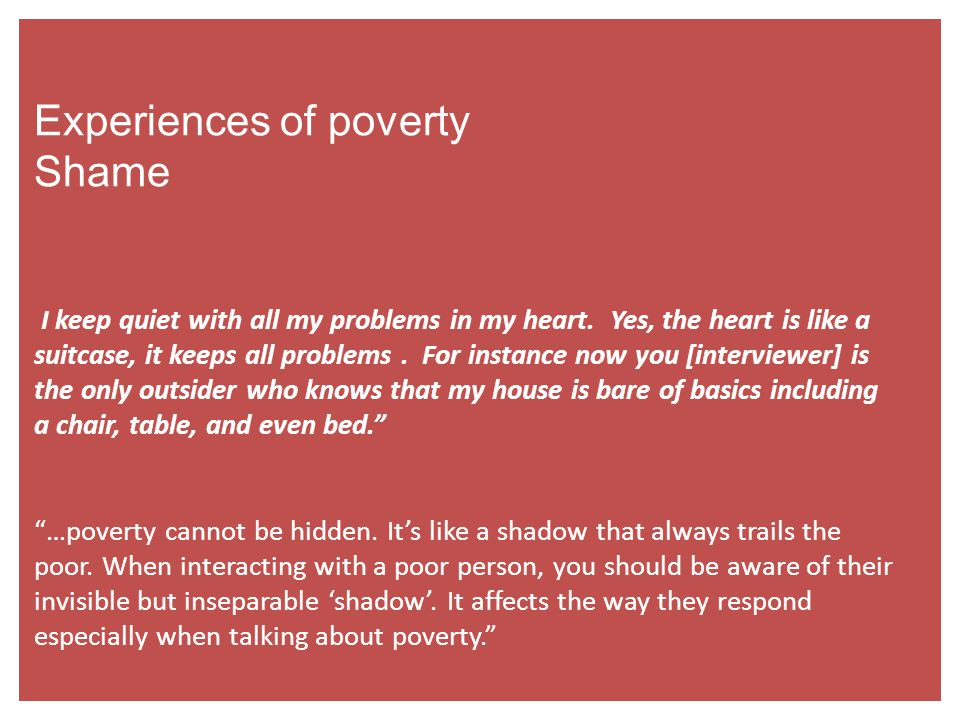 Experiences of poverty Shame I keep quiet with all my problems in my heart.