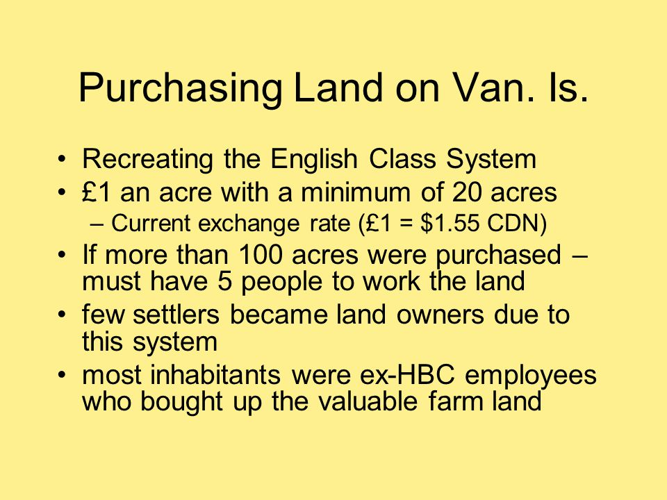 Purchasing Land on Van. Is.