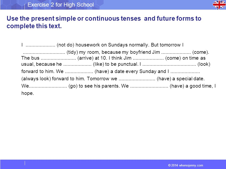 Use the present simple or continuous tenses and future forms to complete this text.