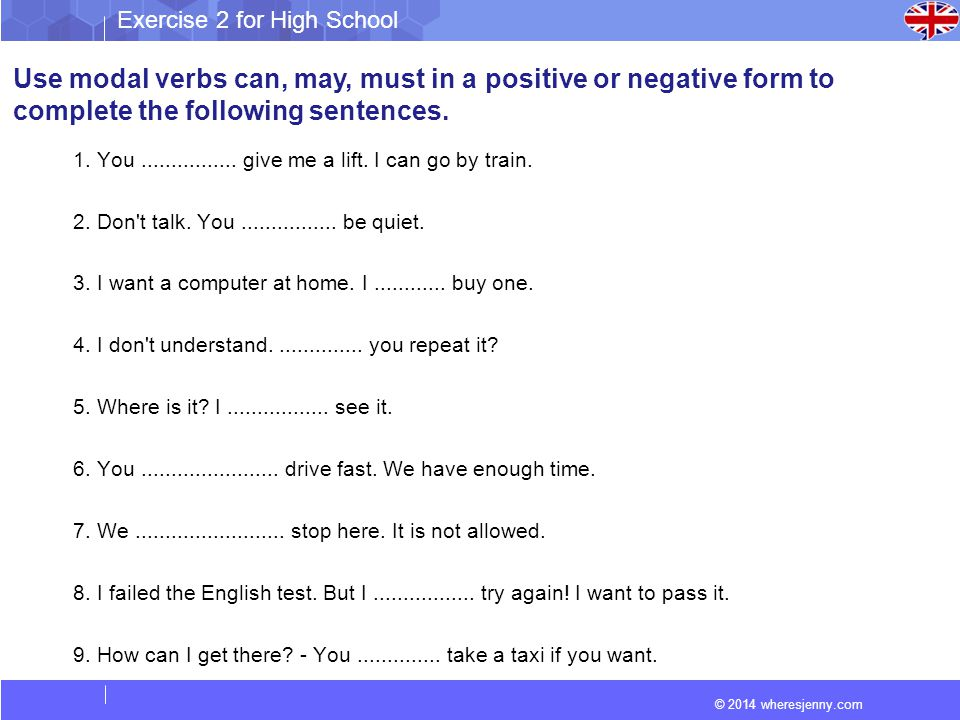 Use modal verbs can, may, must in a positive or negative form to
