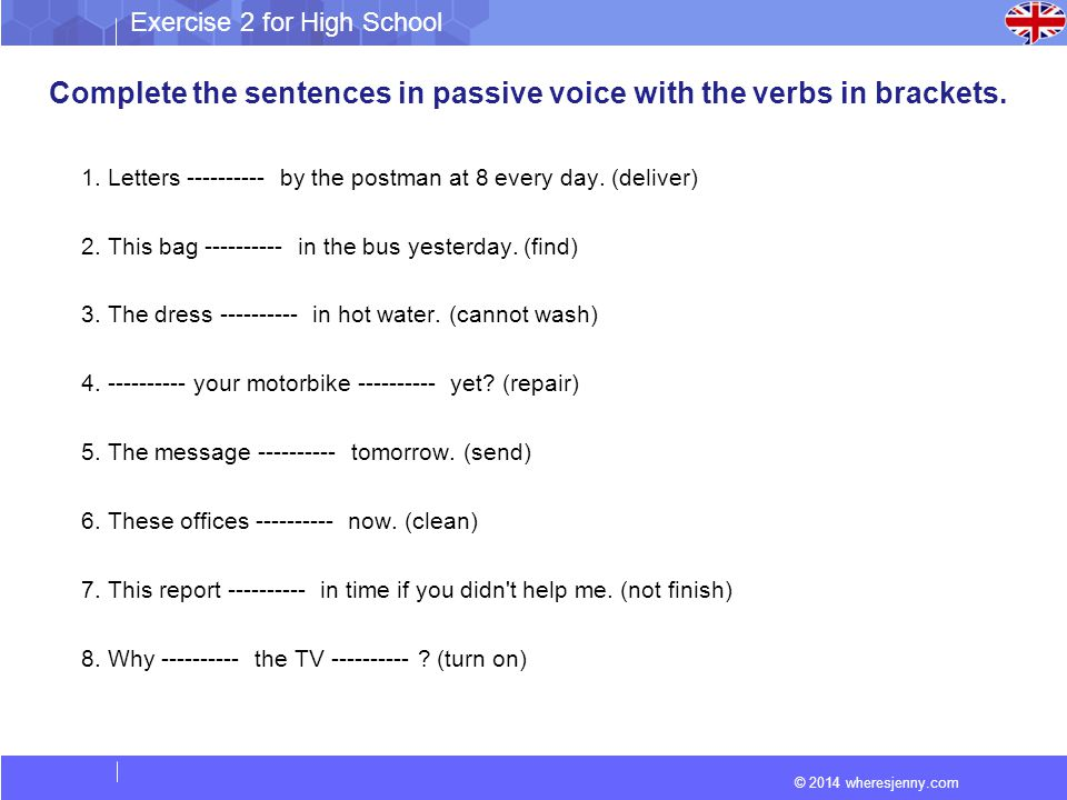 Complete the sentences in passive voice with the verbs in brackets.