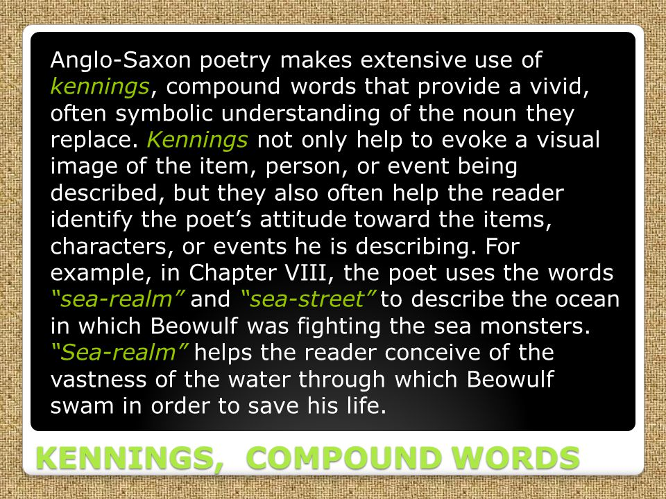 KENNINGS, COMPOUND WORDS