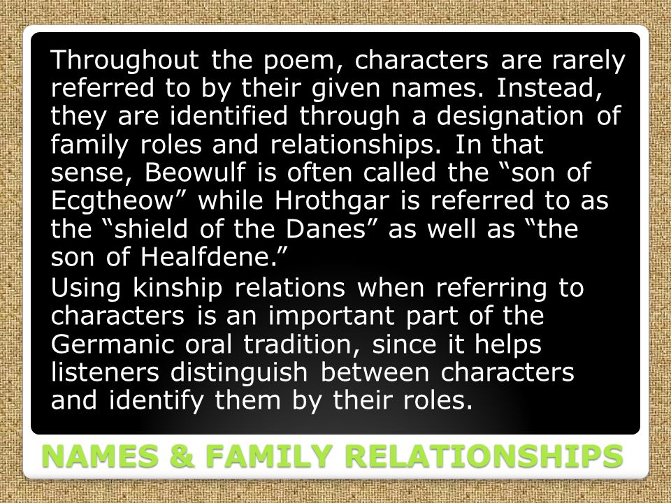 NAMES & FAMILY RELATIONSHIPS