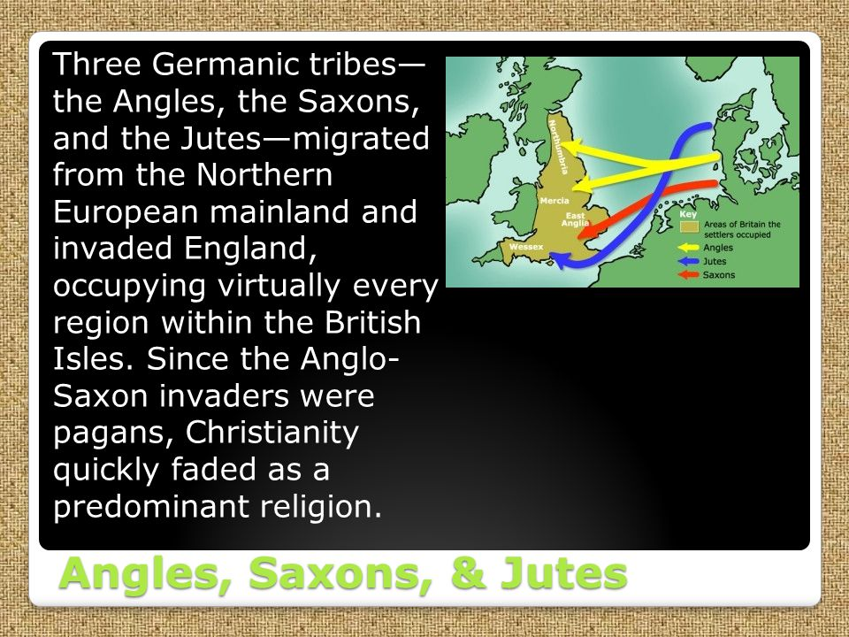 Three Germanic tribes— the Angles, the Saxons, and the Jutes—migrated from the Northern European mainland and invaded England, occupying virtually every region within the British Isles. Since the Anglo- Saxon invaders were pagans, Christianity quickly faded as a predominant religion.