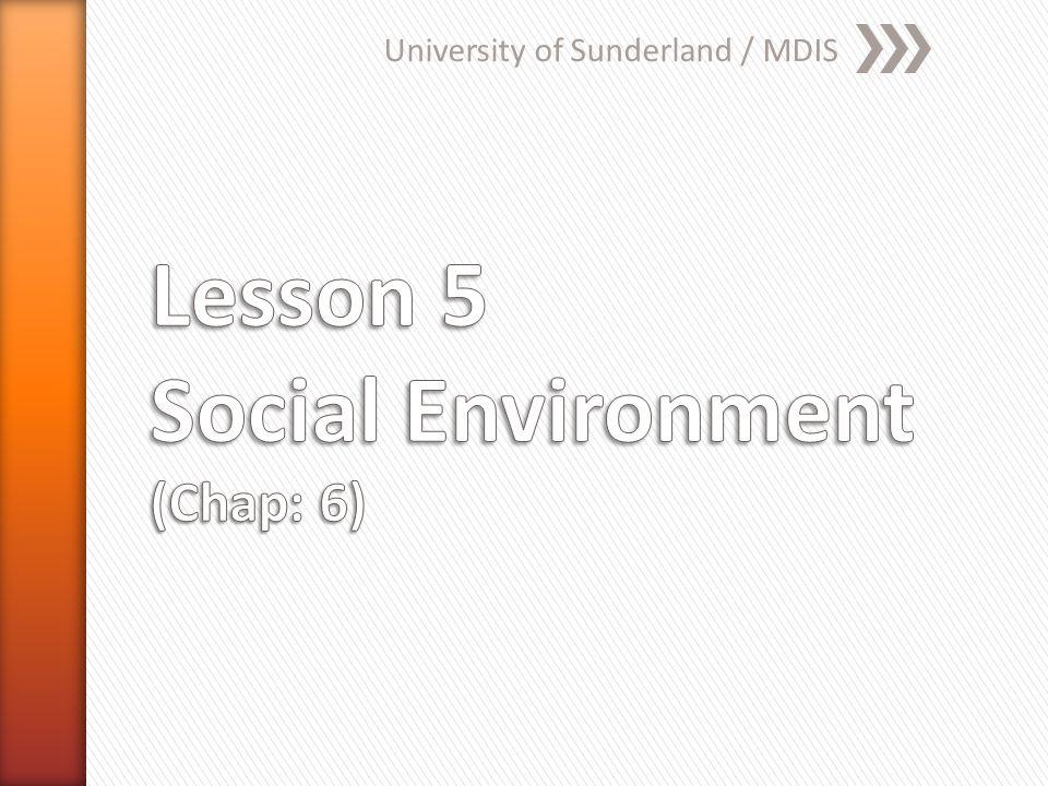 Lesson 5 Social Environment (Chap: 6)